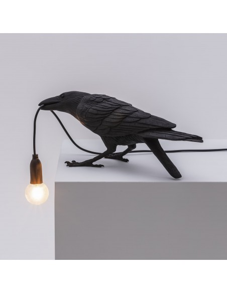 SELETTI Bird lamp Playing Outdoor Black