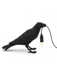 SELETTI Bird lamp Waiting Outdoor Black
