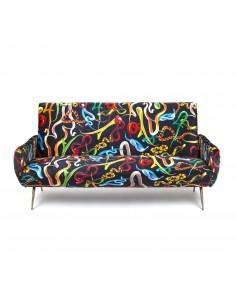 SELETTI Toiletpaper Three Seater Sofa - Snakes
