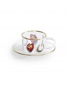 SELETTI Toiletpaper glass coffee set -i love you