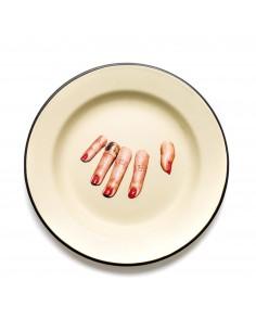 SELETTI Toiletpaper plate metal enameled - finger hand