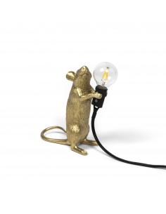 SELETTI Mouse Lamp Gold Standing/Step Black Cable