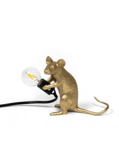 SELETTI Mouse Lamp Gold Sitting/Mac Black Cable