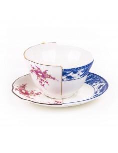 SELETTI Hybrid Porcelain tea cup + plate  - Zenobia