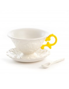 SELETTI i-wares set in porcelain with coloured handles