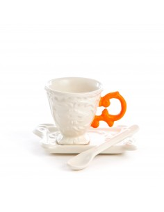 SELETTI i-wares coffee set in porcelain with coloured handle