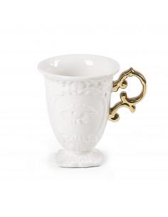 SELETTI i-wares porcelain mug - handle gold
