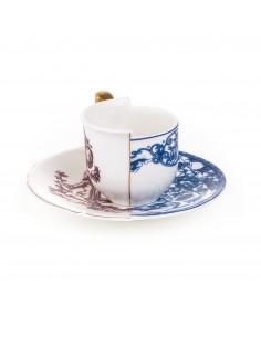 SELETTI Hybrid Porcelain coffee cup + plate  - Eufemia
