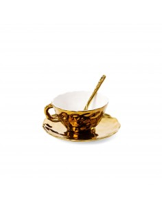 SELETTI Fingers teacup with saucer and teaspoon in porcelain