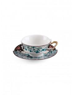 SELETTI Hybrid Porcelain tea cup + plate  - Aspero